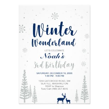 winter wonderland 3rd boy birthday invitation birthday gifts party