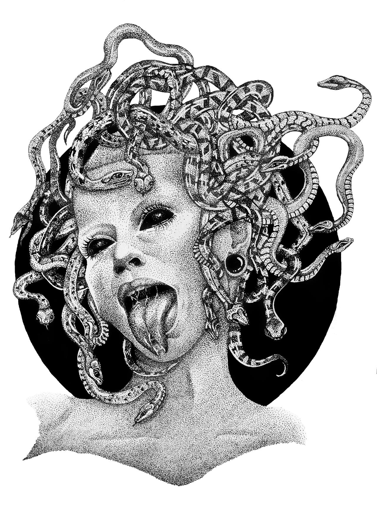 Открытка с медузой горгоной