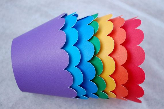 Rainbow Cupcake Wrappers Holders Primary Color by fishcouple