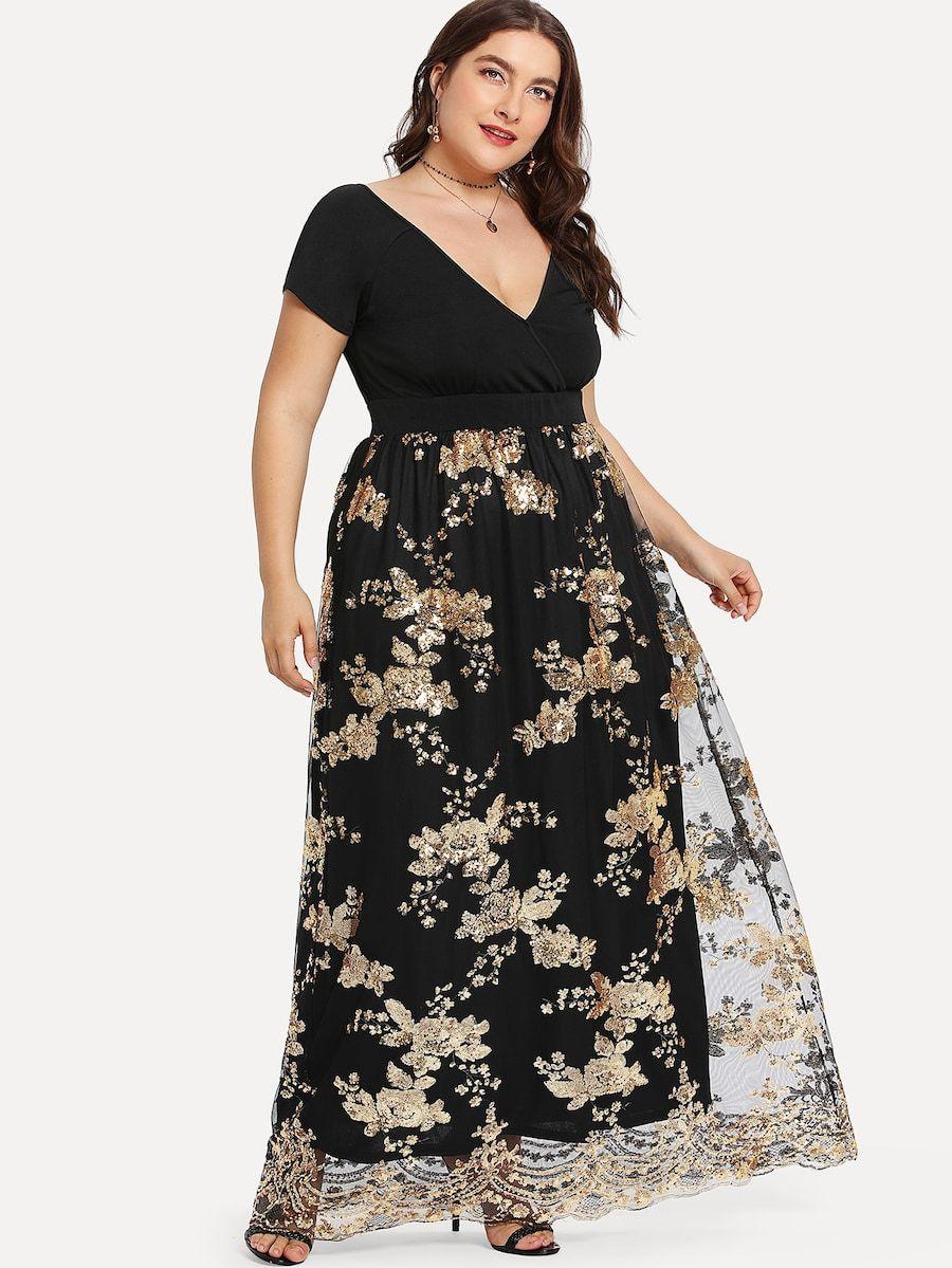 Vestido Cruzado Con Estampado Dorado De Talla Grande Spanish Shein Sheinside Vestidos Con Mallas Vestido Maxi Vestidos De Talla Grande