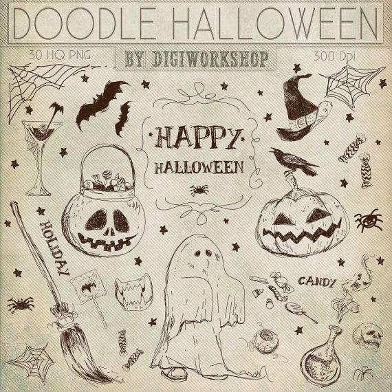 Charmant Halloween Clipart: Digital Halloween Clipart, Doodle Halloween Clip Art, Happy  Halloween Clipart #