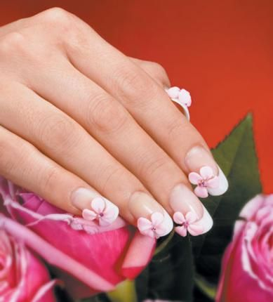 Beautiful flower wedding nails! One cherry blossom on each ...