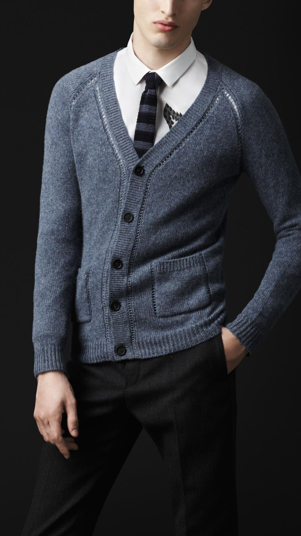 0a113872 Burberry Open-Stitch Detail Cashmere Cardigan #cardigan #menstyle #menswear