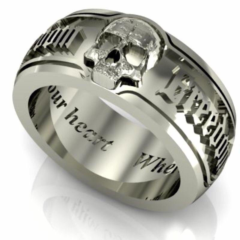 Silver Skull Wedding Ring For A Man Http Www Weddingringpictures Info 2015 08 17 Silver Skull Wed Skull Wedding Ring Mens Skull Rings Unusual Wedding Rings