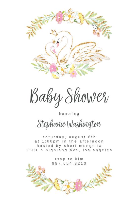 Glitter Swans Baby Shower Invitation Template Free Greetings Island Free Baby Shower Invitations Baby Shower Invitation Templates Swan Baby Shower