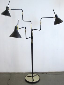 Anonymous; Lacquered Steel and Brass Floor Lamp by Lightolier, 1960s.