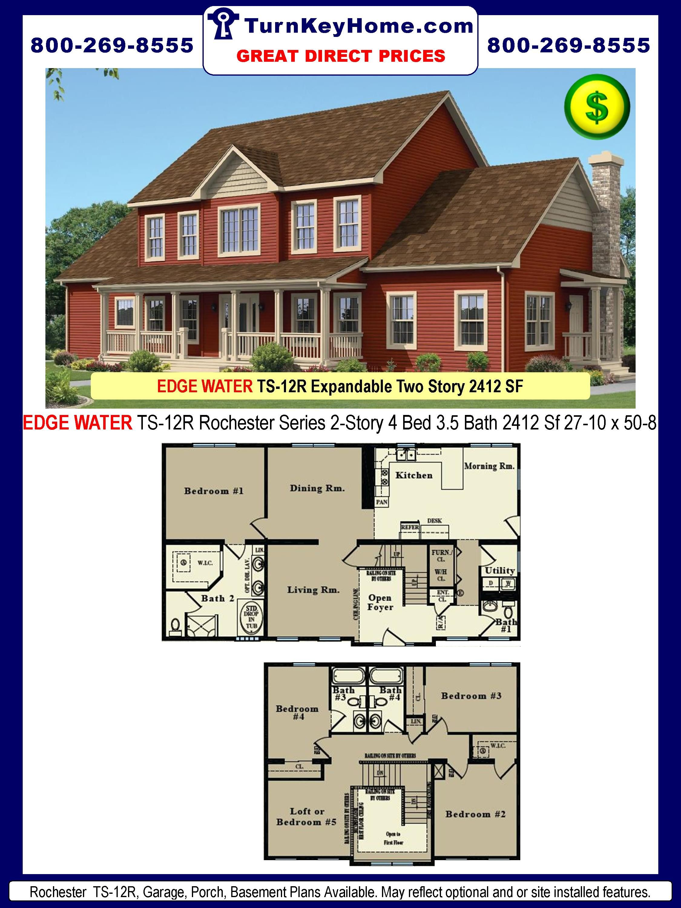 4 Bedroom Two Story Modular Home Floor Plans