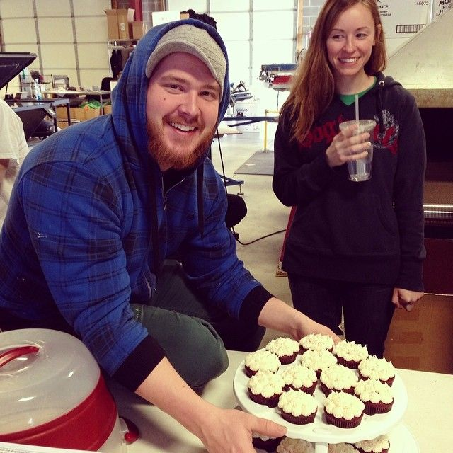 """Let's wish Bear a big ol' """"Happy Birthday"""" on this sunny #STL morning! And immense thanks are due to Cassie for baking such delicious cupcakes in his honor! #SKfamily #happybirthday"""