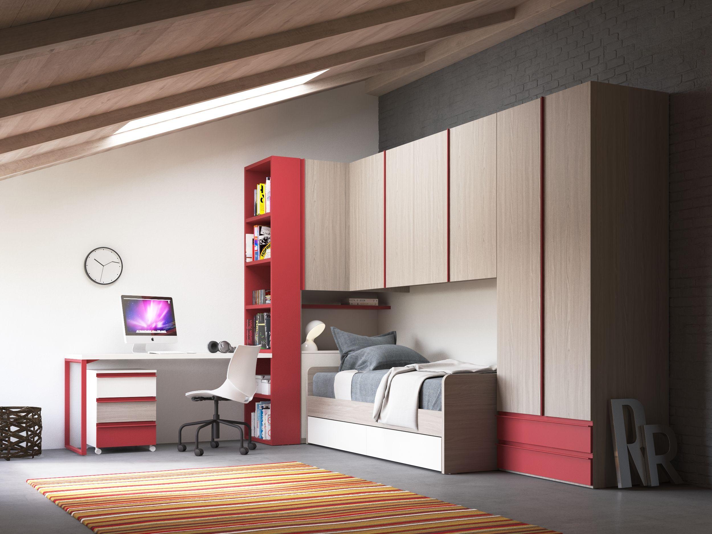 Brugkasten met bed en bureau met open boekenkast. nardi interni