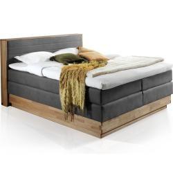 Photo of Menota Boxspringbett mit Bettkasten, massivem Holzrahmen und Bezug im Vintage Look – 200 x 200 cm Mö