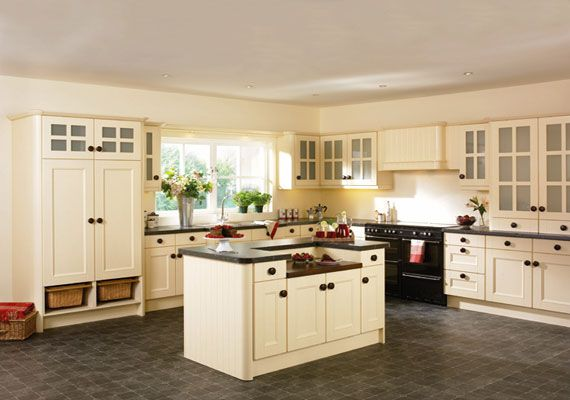 flooring that matches cream colored cabinets Cream Kitchen