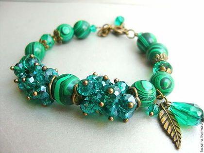 МАЛАХИТ - тёмно-зелёный,браслет из малахита,браслет,браслет из камней