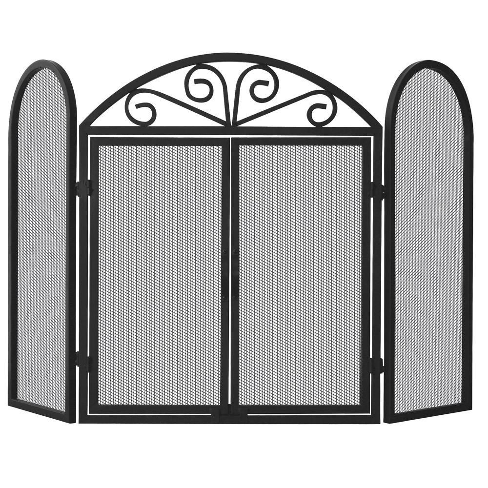 Amazing Uniflame Black Wrought Iron 3 Panel Fireplace Screen With Download Free Architecture Designs Photstoregrimeyleaguecom