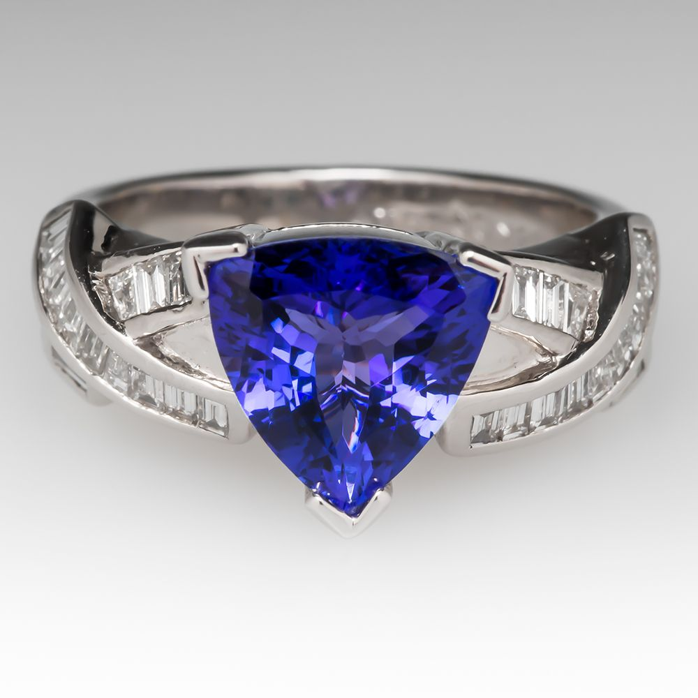 band cut ring natural if solitaire tanzanite trillion twisted blue white solid gold engagement