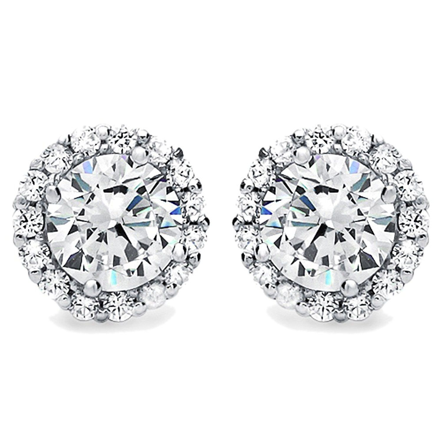 ce4c5da41 Diamoni Collection Rhodium Plated Sterling Silver 2.5 cttw Round CZ Halo Stud  Earrings >>> Visit the image link more details. (This is an affiliate link)  # ...