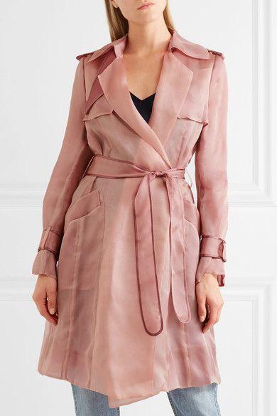 Hervé Léger - Silk-organza Trench Coat - Pink -