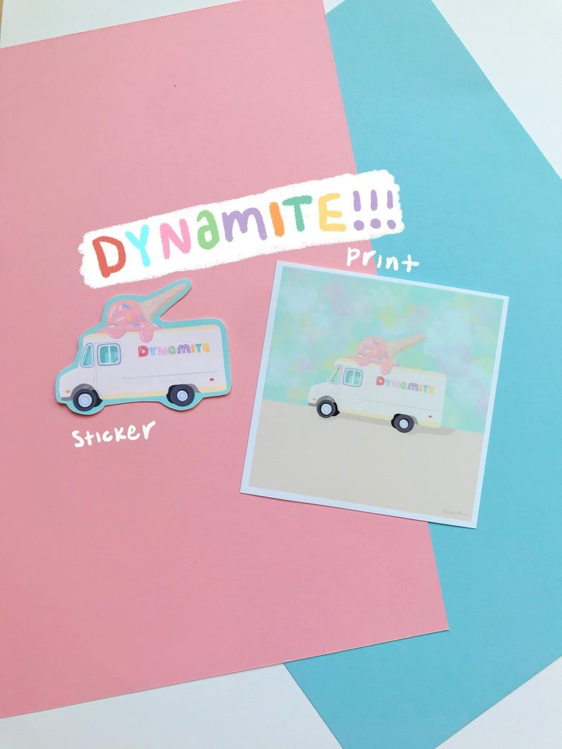 Bts Dynamite Stickers Prints Bts Stickers Bts Vinyl Etsy In 2020 Disney Sticker Forever Stamps Bullet Journal Stickers
