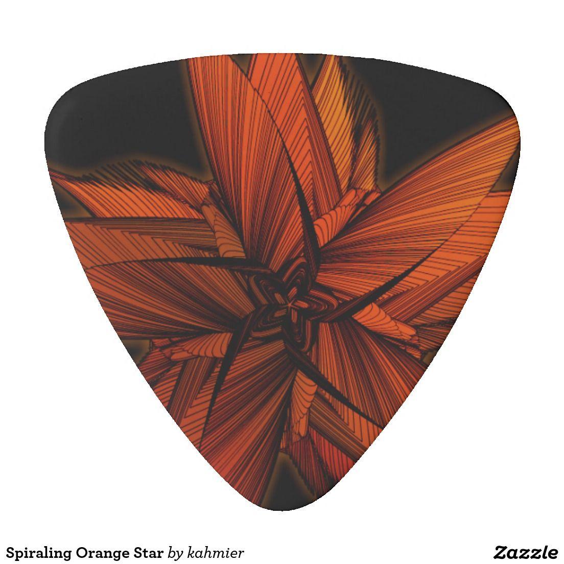 spiraling orange star guitar pick guitar picks guitar guitar picks cool. Black Bedroom Furniture Sets. Home Design Ideas