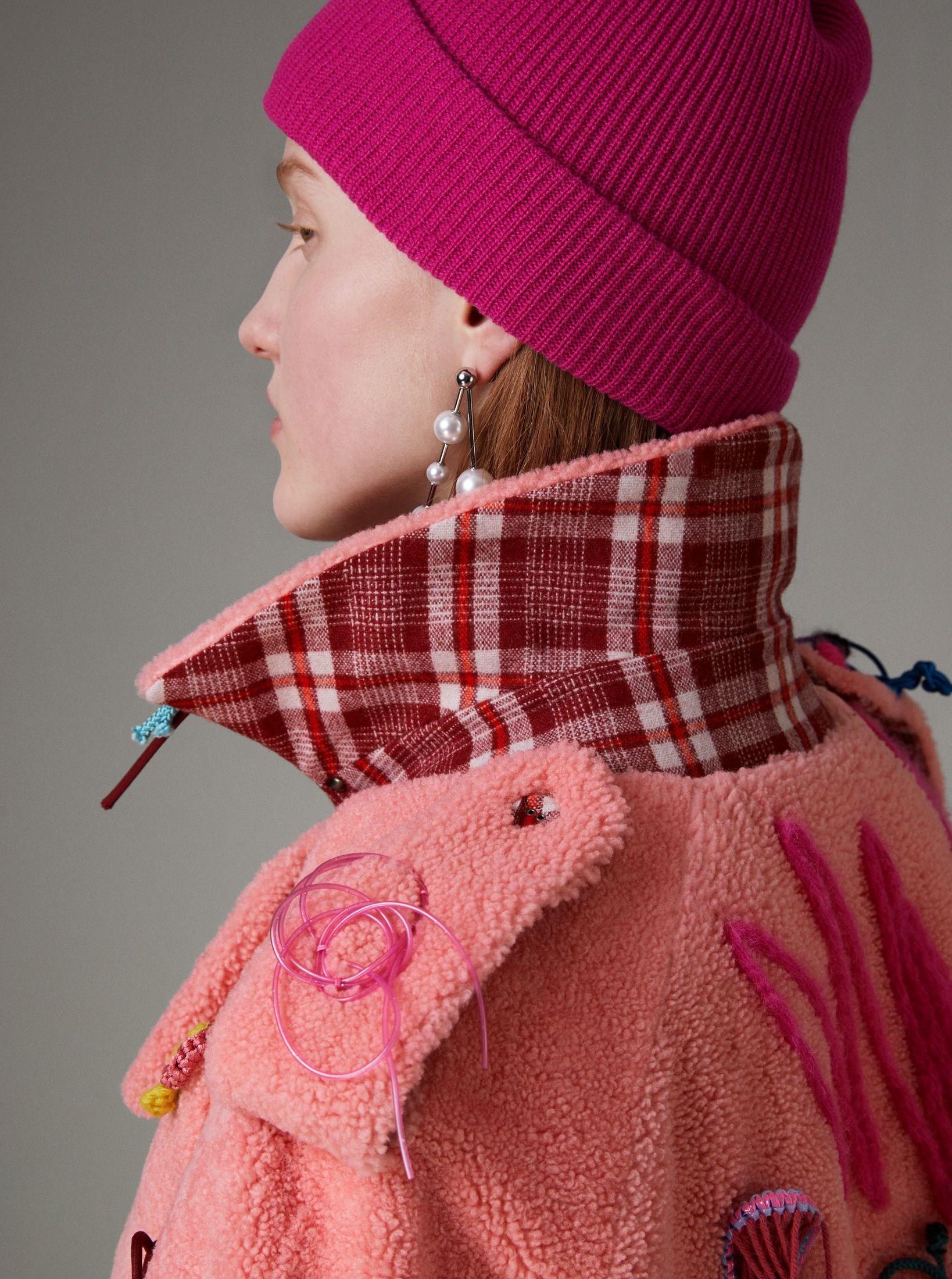 0cd66ab7528 The iconic trench remade in fuzzy pink shearling with handmade crocheted  flowers