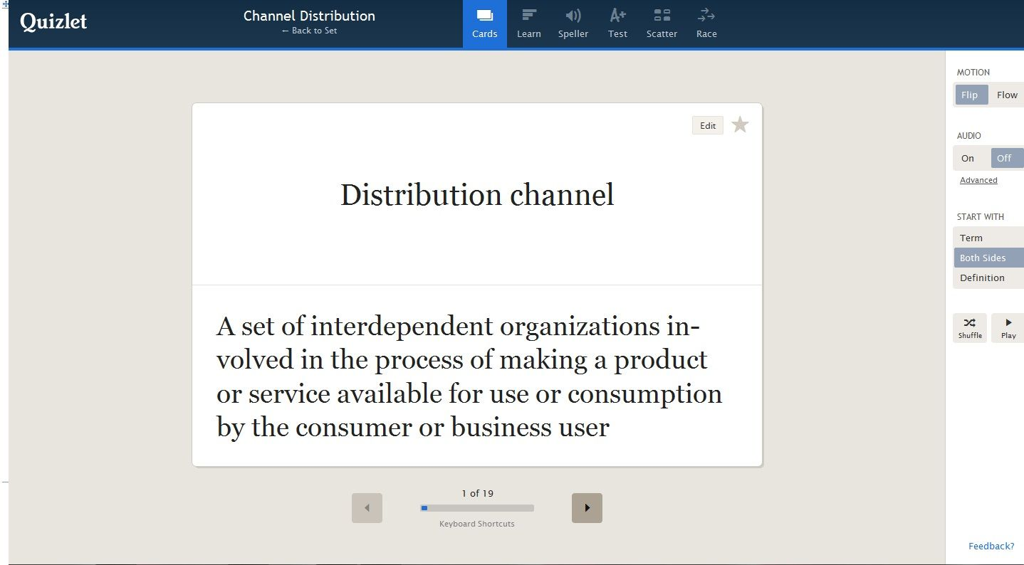 Flashcards of terms for channel distribution