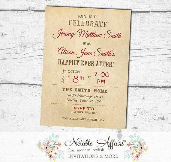 After Wedding Brunch Ideas: Vintage Rustic Happily Ever After Invitation