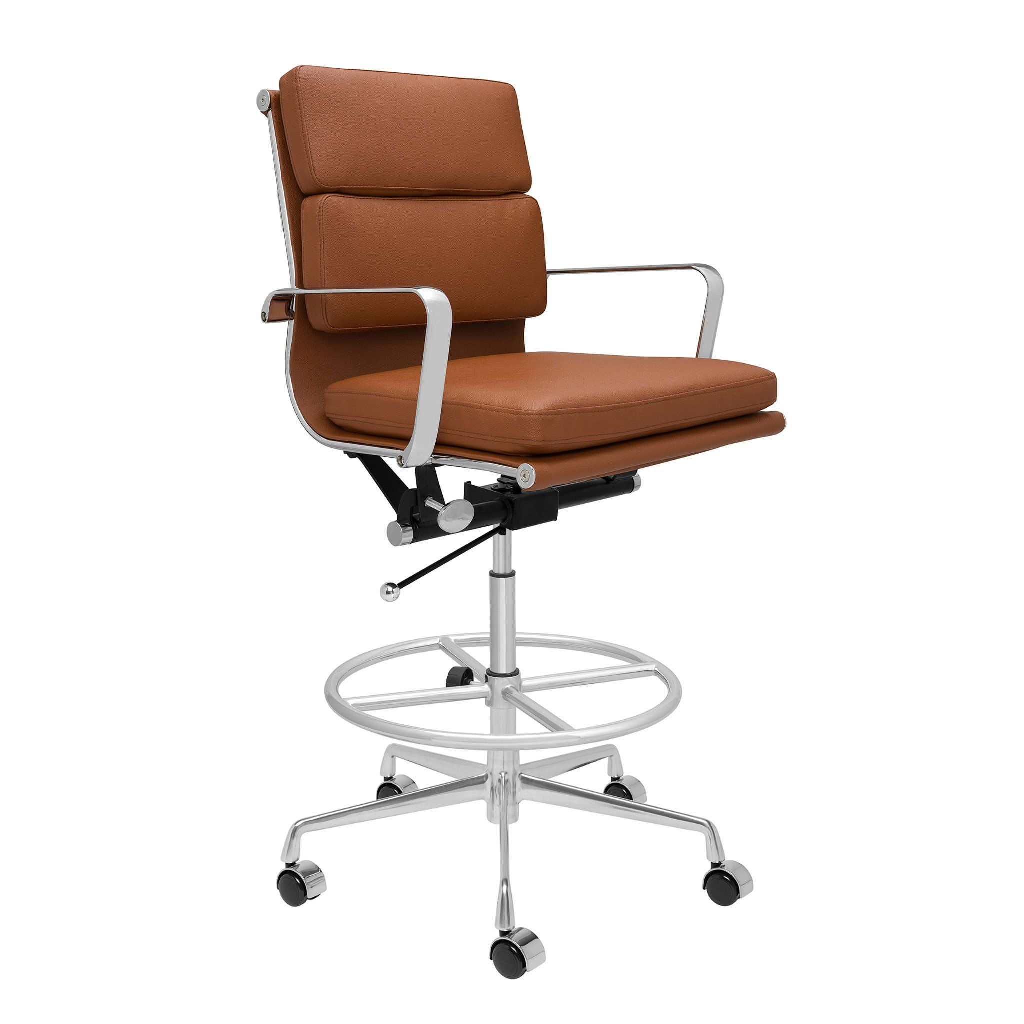Ships August 28th Soho Soft Pad Drafting Chair Brown