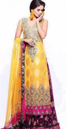 Yellow and pink mehndi dresses images