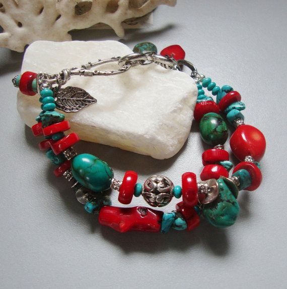 Acapulco  Natural Turquoise Red Coral handmade Bracelet by nina68