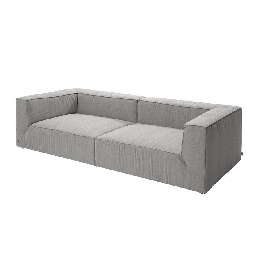 Grand canapé Big Cube Tissé  plat Gris clair Sans coussin