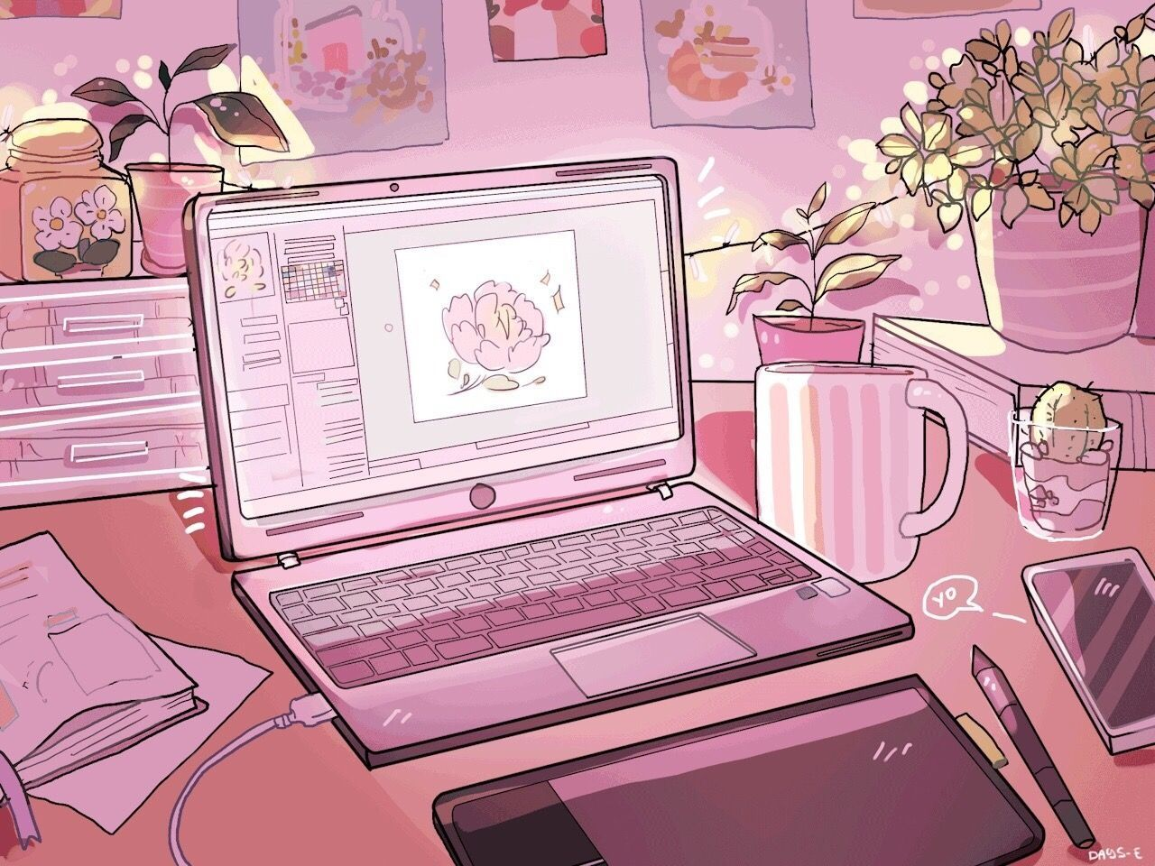 Aesthetic Laptop Pastel Pink Aesthetic Anime Scenery Wallpaper Aesthetic Anime