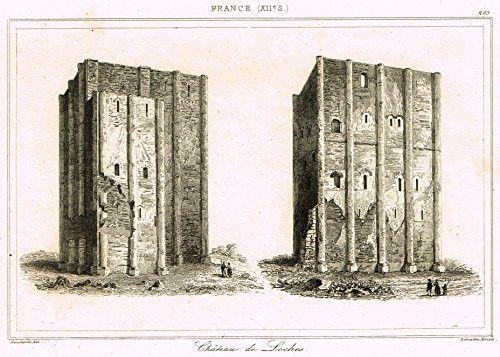 "Bas's France Encyclopedique - ""CHATEAU DE LOCHES"" - Steel Engraving - 1841"