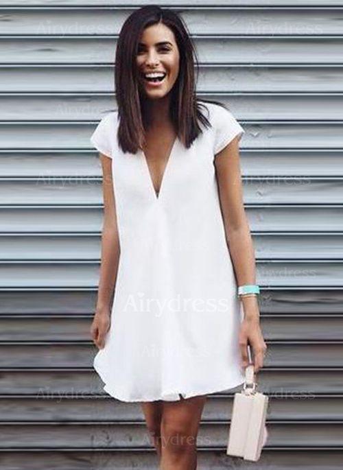 abd1c8102c Vestidos Algodón Llanura Sobre las rodillas Manga casquillo (1044982)   White  Summer Dresses