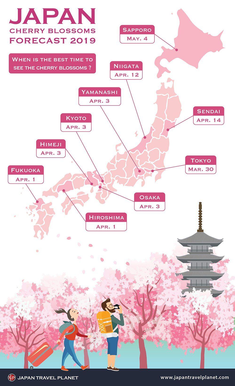Japan Cherry Blossoms Forecast 2019 Where To See The Sakura Around Japan Tokyo Japan Travel Japan Travel Japan