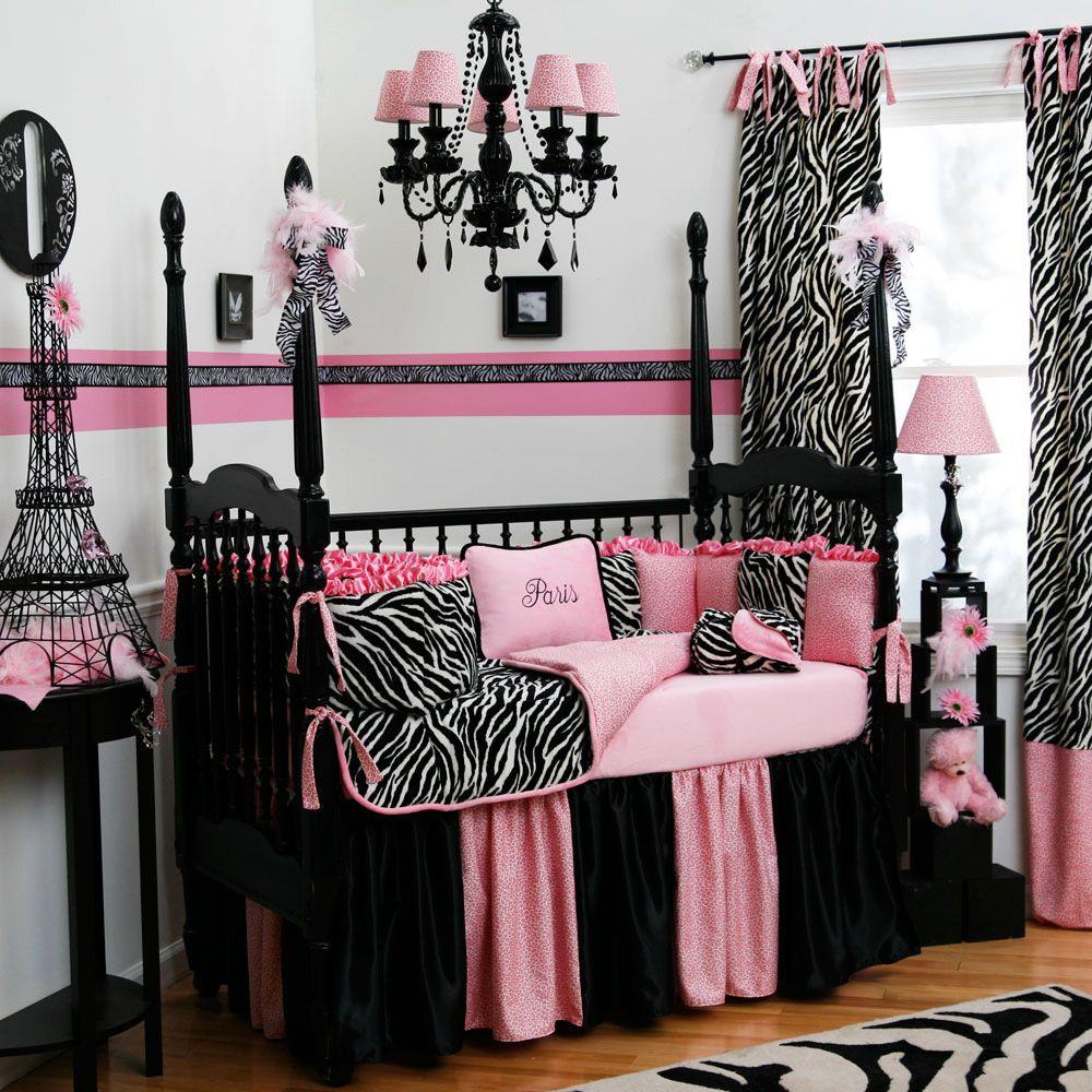Baby crib zebra bedding - Pink And Gray Damask Baby Crib Bedding