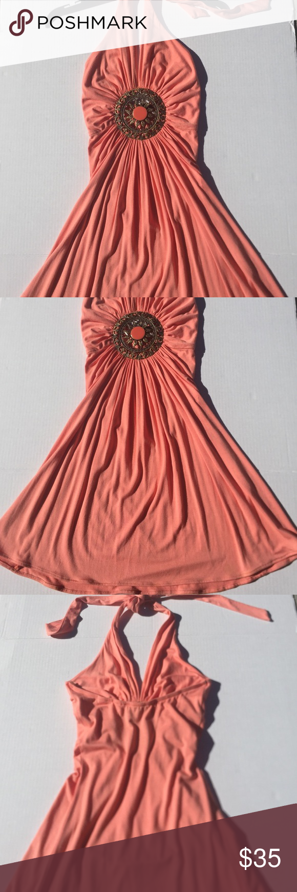"""Sky Dress Sky Halter/Backless Dress. Centered Medallion . Lightly preworn. Beautiful with lots of life. Measured from halter tie to bottom front dress is approx 35""""( as shown) sky Dresses"""