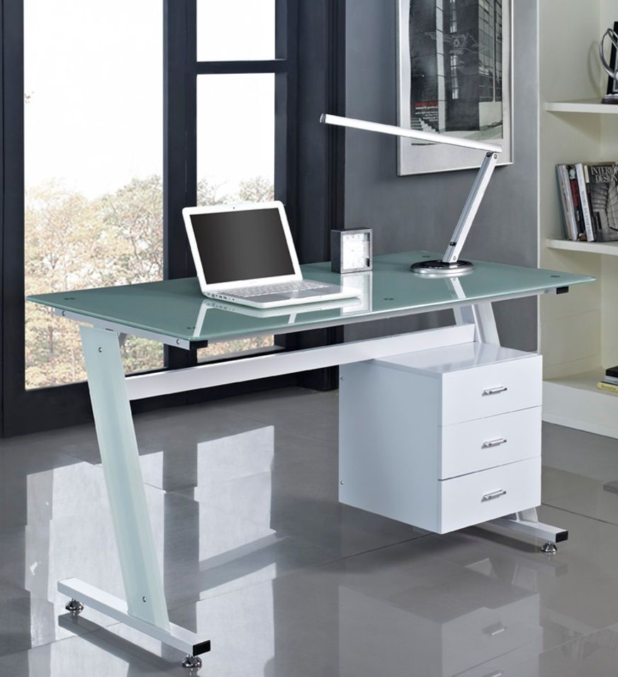 Computer Desk Black Or White With Glass Top And 3 Drawers Home Office PC  Table
