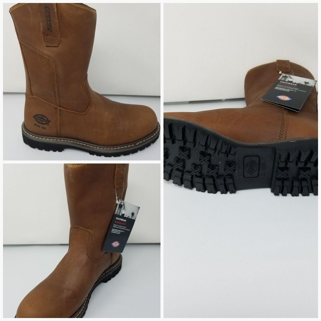 cae139d2659 Dickies Abbott Steel Toe Wellington Style Brown Pull On Work Boots ...