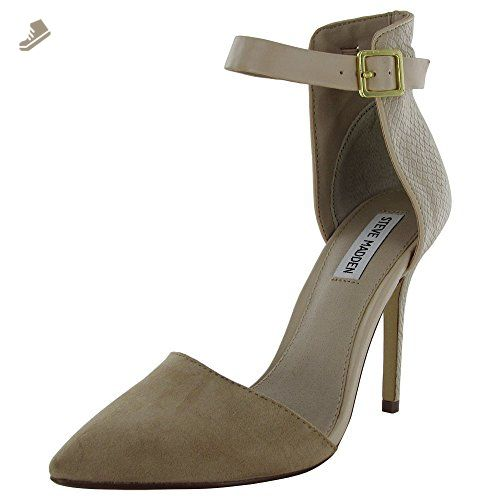 Steve Madden Womens Daalton Pointed Toe Ankle Strap Pump Shoe, Natural, US 10 - Steve madden pumps for women (*Amazon Partner-Link)