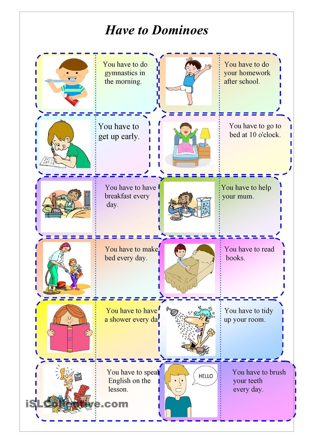 Have to domino | ESL worksheets of the day | Pinterest | Englisch ...