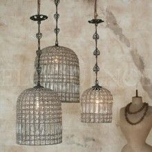 Reproduction Birdcage Beaded Chandelier