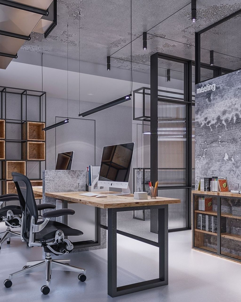 Do You Have A Home Office Or Just A Desk At Work Either Way You Can Always Decorate It A B Office Interior Design Modern Office Space Industrial Office Design