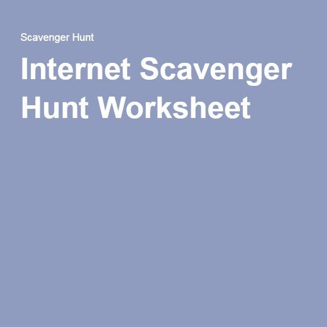 Internet Scavenger Hunt Worksheet Office Games Pinterest