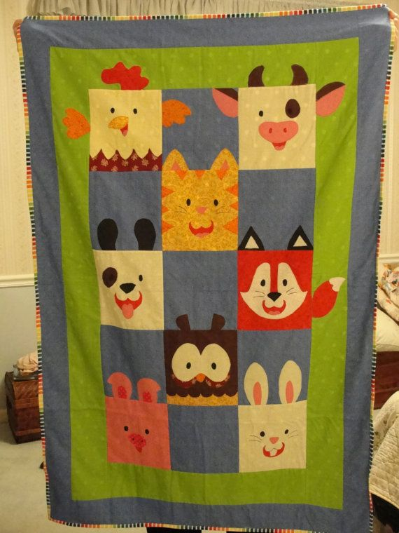 Farm Animal Baby Quilt 80 00 Via Etsy Quilting