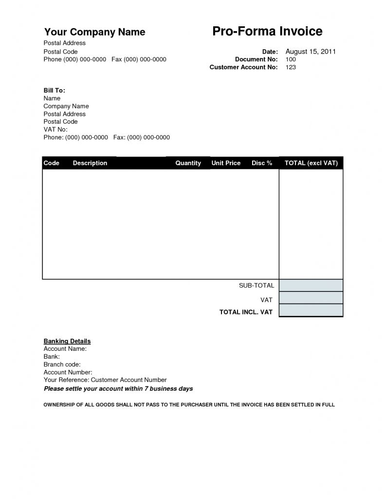 Proforma Invoice Template Download Free Invoice Template Ideas