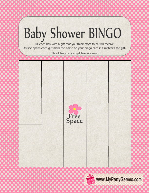 free printable baby shower gift bingo card in pink color baby rh pinterest com