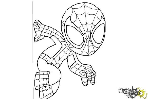 How To Draw Chibi Spiderman Step 7 Spiderman Drawing Spiderman Coloring Chibi Spiderman