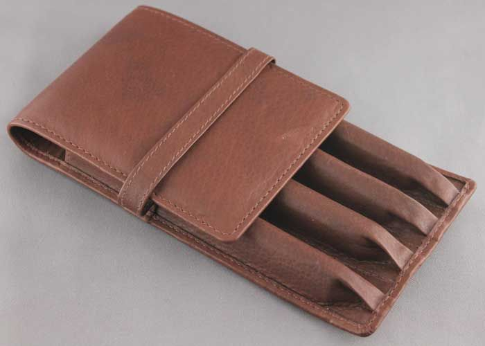 4 Pen Case Brown Leather- Anderson Pens- soft like butter
