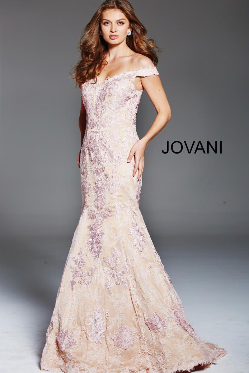Jovani off shoulder lace mermaid dress moda para mujeres