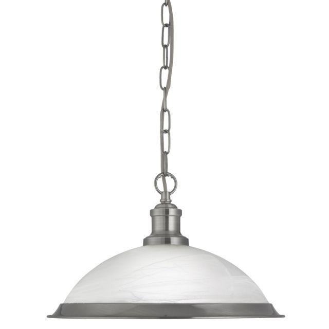 1591SS BISTRO - závesná lampa - satén.striebro+leptané sklo