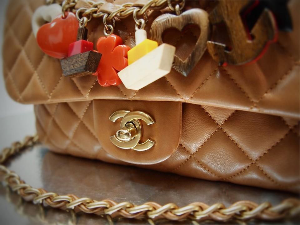a6fa306a281c Chanel 11C 14279894 Tan Lambskin Charm Medium Flap with Matt Gold Hardware